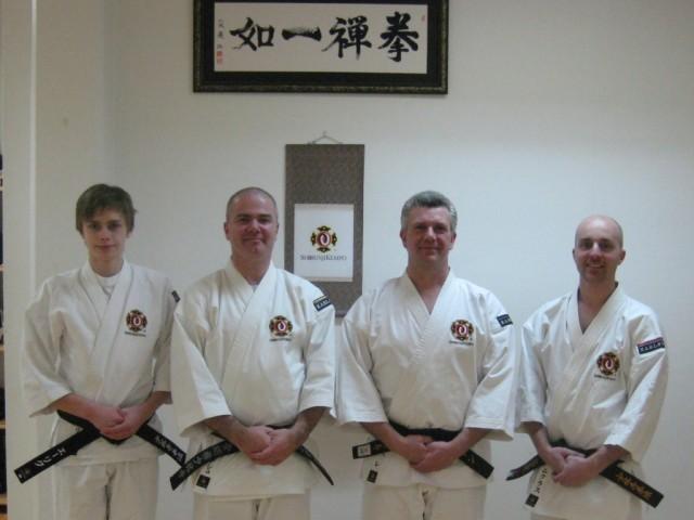 Instruktörer för shōnenbu 2011; från vänster: Erik, Anders, Pelle & Niklas