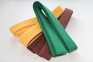 Färgade bälten (obi) som indikerar vilken kyū-grad kenshi har