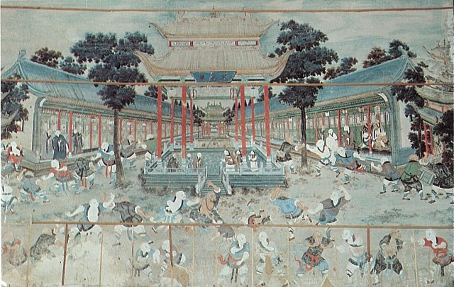 Mural painting at the Shaolin temple that inspired Kaiso to establish Shorinji Kempo.