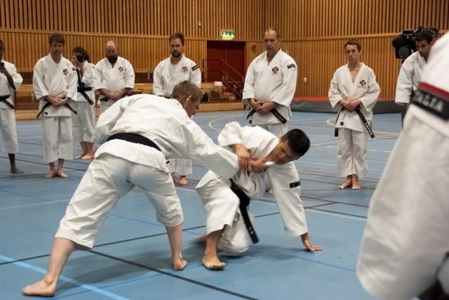 Fujii-sensei demonstrate hasami daoshi with Åke-sensei