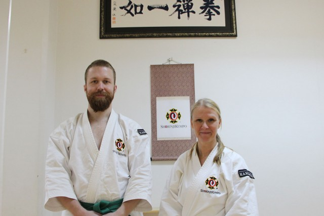 Fredrik and Maja after they passed their grading to 5th kyu and 3rd kyu.