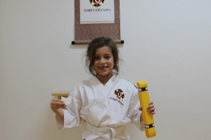 Patricia after she passed the grading for 8 kyū.