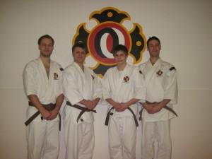 De som graderade till shodan. Från vänster; Peter Thorvald, Andreas Laestadius, Erik Öhrn och Fedrik Fall.