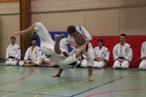 Arnaud kastar Joakim när de visar sin embu
