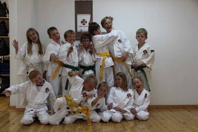 The kids all very happy after a successful grading.