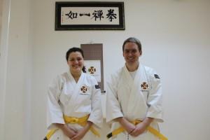 Linda och Christer efter sin lyckade gradering till sankyū