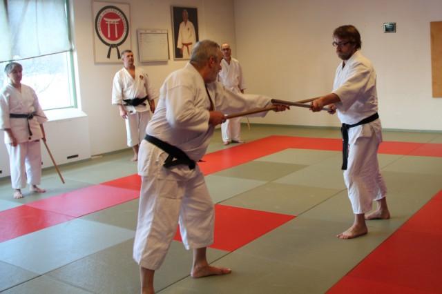 Lasse Andersson instruerar Aikijo tillsammans med Pär Dahlström, medan övriga försöker ta åt sig instruktionerna