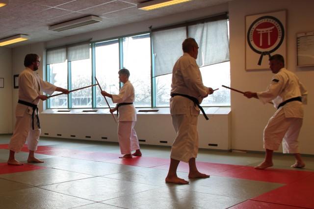 Träning med jo (cirka 128 cm lång stav), vår egen Pelle tränar med Lasse
