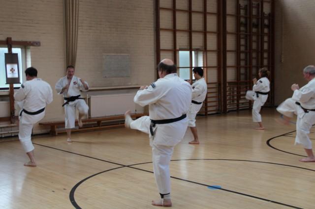 Steve-sensei leder kihon på yudansha-träningen