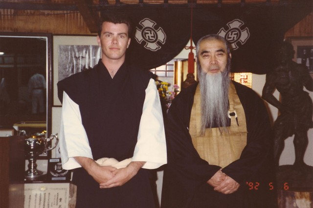 Anders together with Morikawa Zeoh sensei in Rakutō dōin 1992