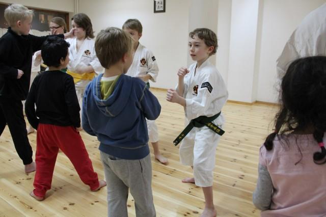 Neo tränar uchi uke zuki med en av de som kom och provade på.