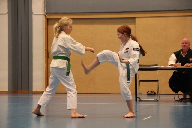 Anna-Lovisa och Tilda visar upp sin embu.