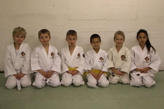 Vincent, Olle, Krisitian, Musashi, Vide och Alicia efter sin gradering till 8:e kyu respektive 7:e kyu.