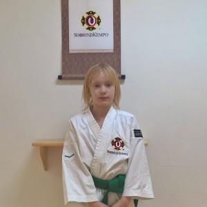 Bild på Rebecca efter träningen.