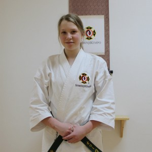 Olivia after her grading to sankyū (3 kyū)