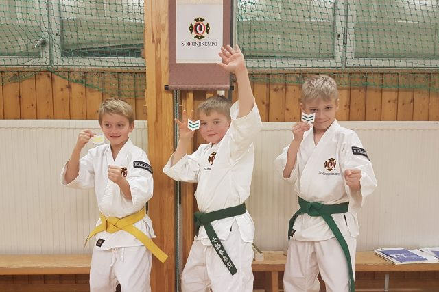 Arvid, Olle and Vincent after they passed their grading and received their new bukai sodesho (arm badges indicating rank).
