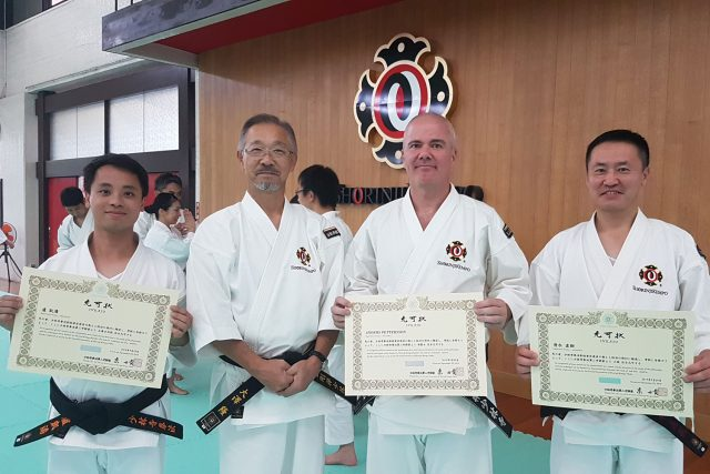 From the left; Calvin Lo (UK) who passed his test for Seikenshi 4 Dan, Ohsawa-sensei Kancho of Kongo Zen Sohonzan Shorinji, Anders and Naoki Shimizu (Japan) who passed his test for 6 Dan.