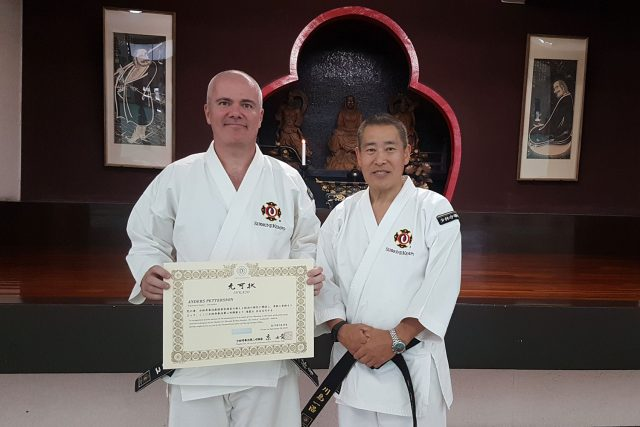 Anders together with Kawashima-sensei, Seihanshi 8 dan, current president of the Japanese Federation and General Secretary of WSKO.
